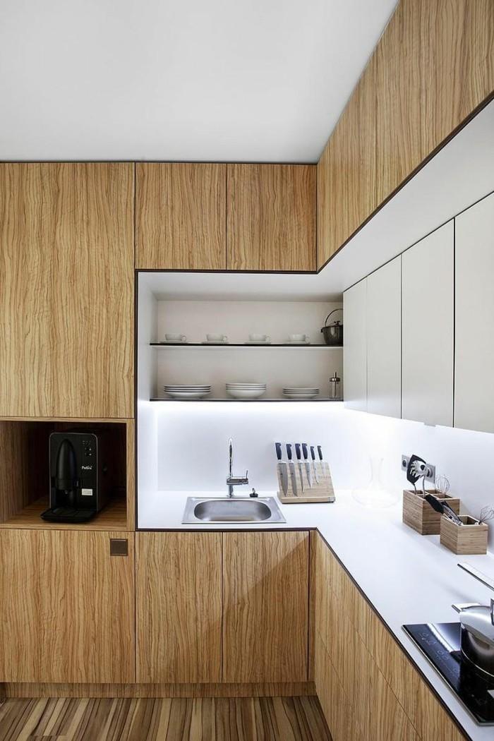 holzküche hölzerne küchenschränke wandverkleidung holz