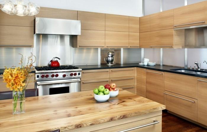 holzküche helles holz kücheninsel