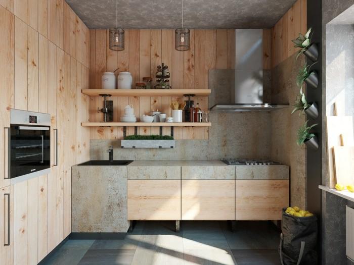 holzküche kombination mit anderen materialien pflanzendeko