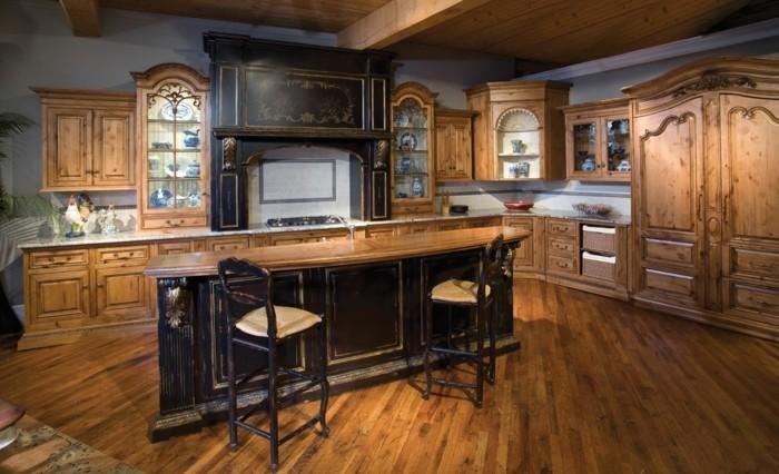 holzküche landhausküche dunkle kücheninsel vintage look