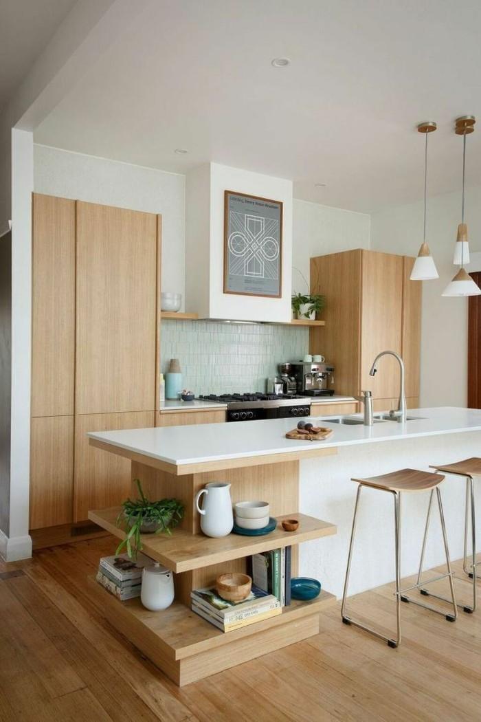 holzküche moderne küche helles holz weiße arbeitsoberfläche stauraum ideen
