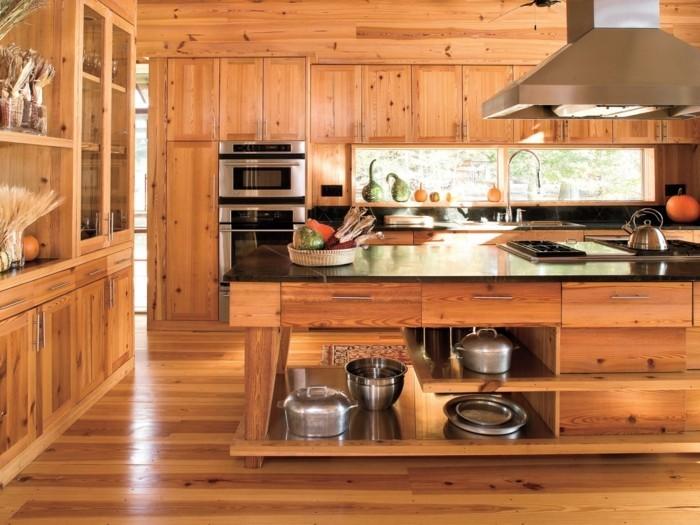 holzküche moderner look gemütlichkeit
