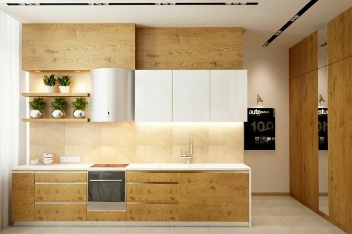 holzküche modernes design kleine küche helle bodenfliesen