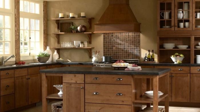holzküche modernes küchendesign küchenrückwand mosaik