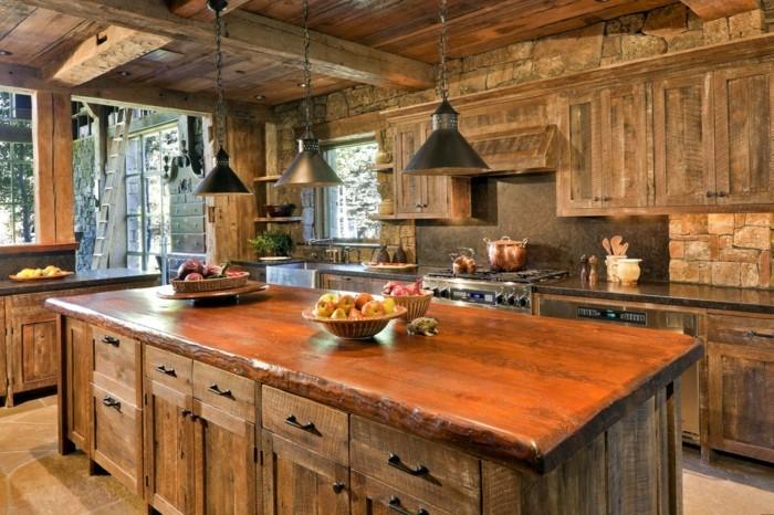 holzküche rustikale küche einrichten