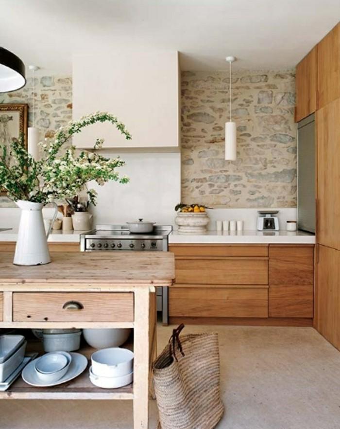 holzküche rustikale kücheninsel heller bodenbelag