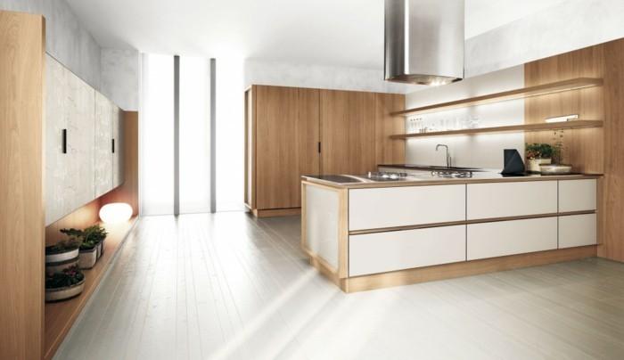 holzküche schöne kombination von holzopzik und weiße oberflächen