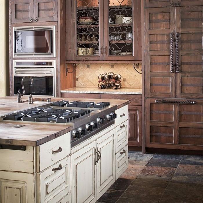 holzküche schönes küchendesign ausgefallene bodenfliesen funktionale kochinsel