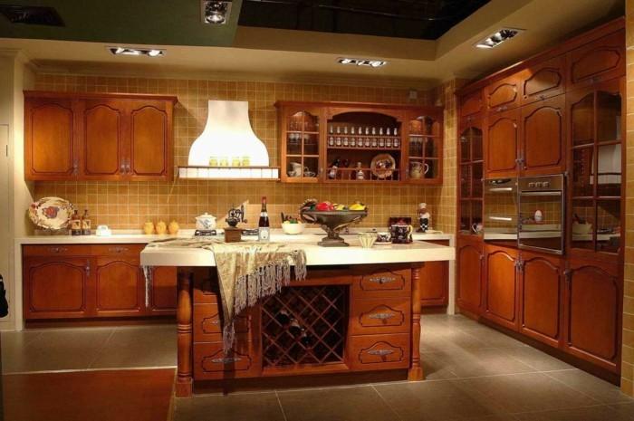 holzküche stilvolle küchenschränke design große bodenfliesen