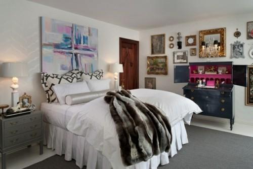 ideen schlafzimmer eklektisch grauer teppich weißer boden