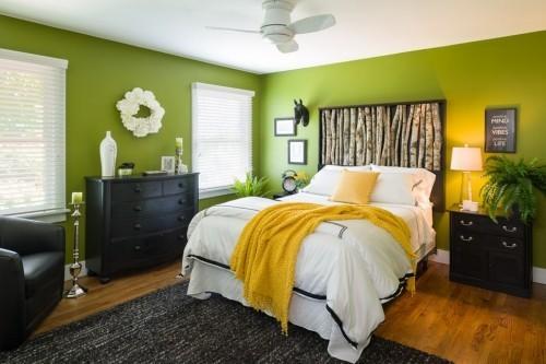 ideen schlafzimmer eklektisch grüne wände schwarzer teppich