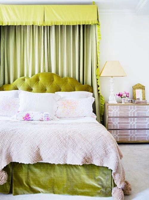 ideen schlafzimmer eklektisch grünes bett weiße wände