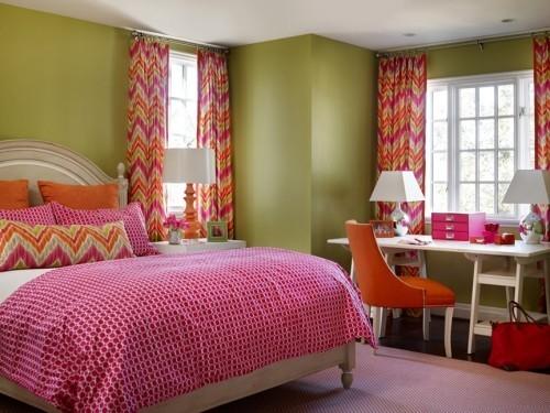 ideen schlafzimmer eklektisch krasse farben zig zag muster