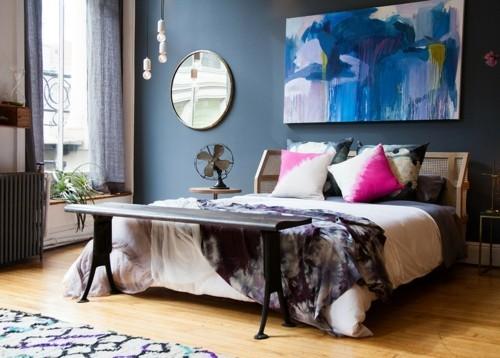 ideen schlafzimmer eklektisch moderne kunstwerke