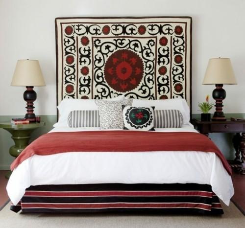 ideen schlafzimmer eklektisch schönes bettkopfteil elegante farbkombination