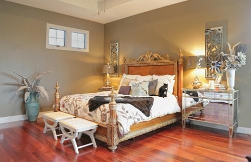 ideen schlafzimmer eklektisch schickes bett spiegelkommode