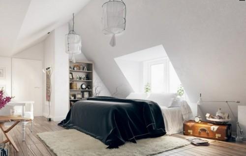 ideen schlafzimmer eklektisch schwarze bettdecke weißer teppich dachschräge