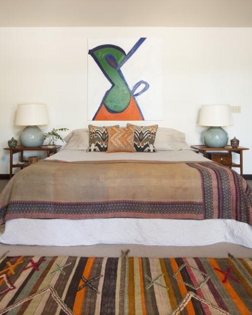 ideen schlafzimmer eklektisch verschiedene muster ausgefallene kunstwerke