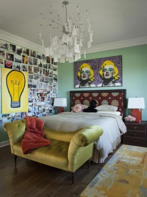 ideen schlafzimmer eklektisch verschiedene stile krasse farben