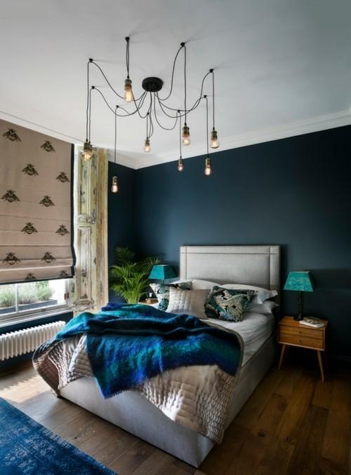 ideen schlafzimmer eklektisch vintage teppich dunkelgrüne wand