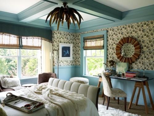 ideen schlafzimmer eklektisch weicher teppich schöner leuchter