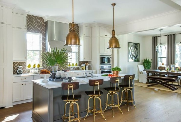 industriestuhl ausgefallene küchenstühle graue kücheninsel