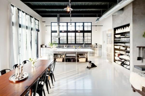 küchen ideen essbereich industrieller stil weißer bodenbelag