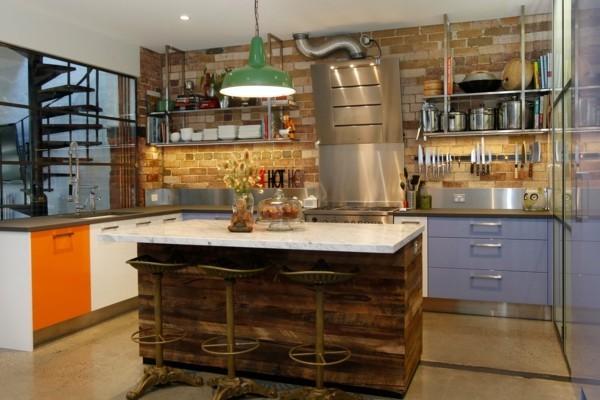 küchen ideen farbige küchenschränke kücheninsel industriell