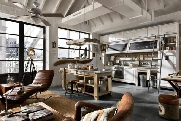küchen ideen hellgrauer boden funktionale kücheninsel