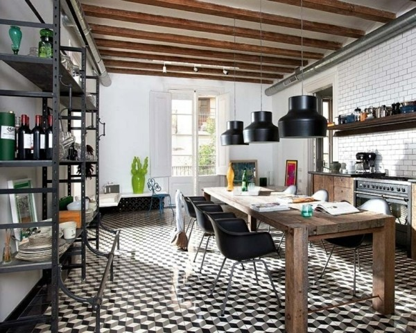 küchen ideen industriell essplatz holztisch schöner boden
