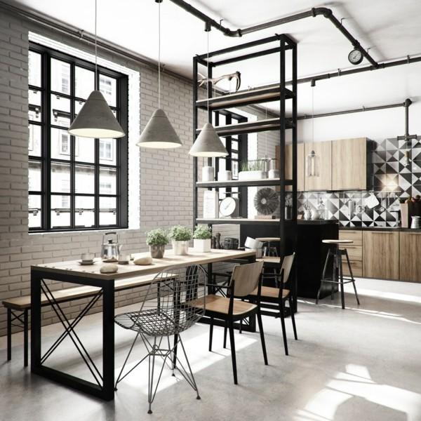 küchen ideen industrielle einrichtung esszimmer heller boden