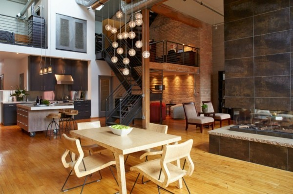 küchen ideen industrielle einrichtung holzmöbel heller bodenbelag