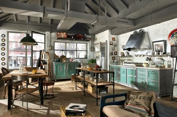 küchen ideen industrielle küche essbereich