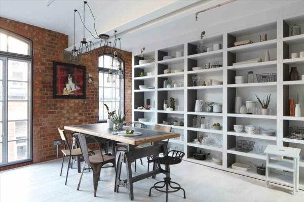 küchen ideen industrieller essbereich ziegelwand offene regalwand