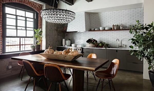 küchen ideen industrieller touch essbereich holztisch