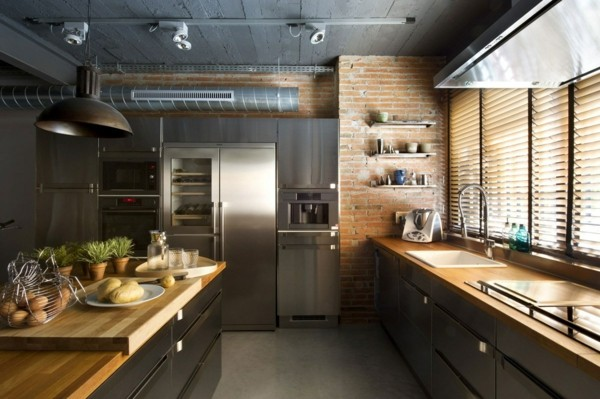 küchen ideen industrielles design graue möbel ziegelwand