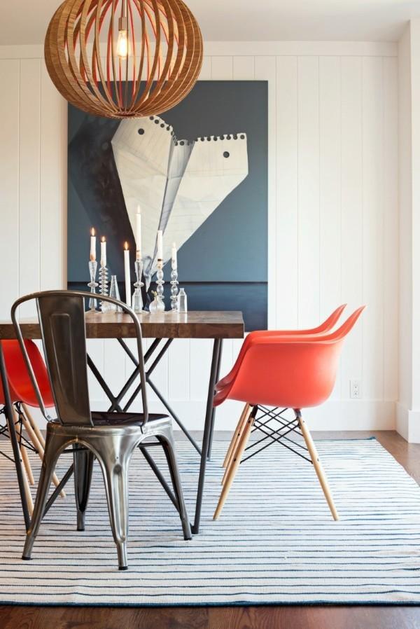küchen ideen modernes esszimmer industrieller look streifenteppich