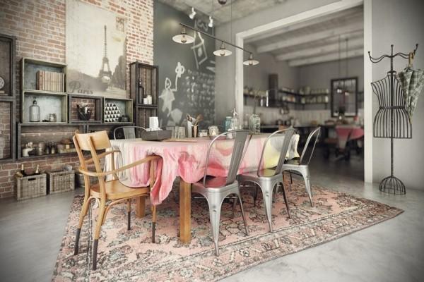 küchen ideen schöner essbereich industrielle essstühle