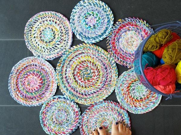 kleine runde teppiche nähen aus stoffresten