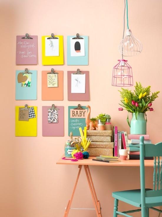 klemmbrett farbige wanddeko ideen schöne wandfarbe