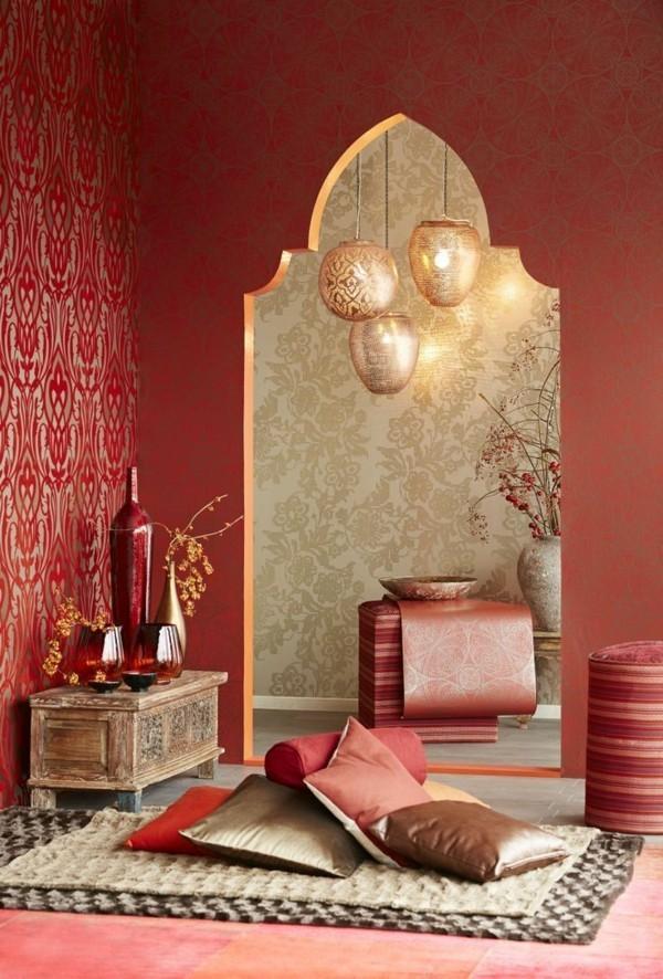 marokkanische lampe edle hängelampen warme wandfarbe bodenkissen