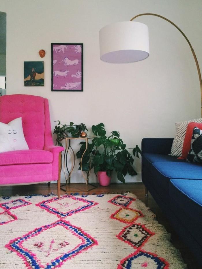 marokkanische teppiche rosa akzente farbige möbel