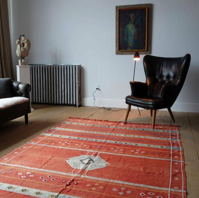 marokkanische teppiche roter teppich schwarzer sessel