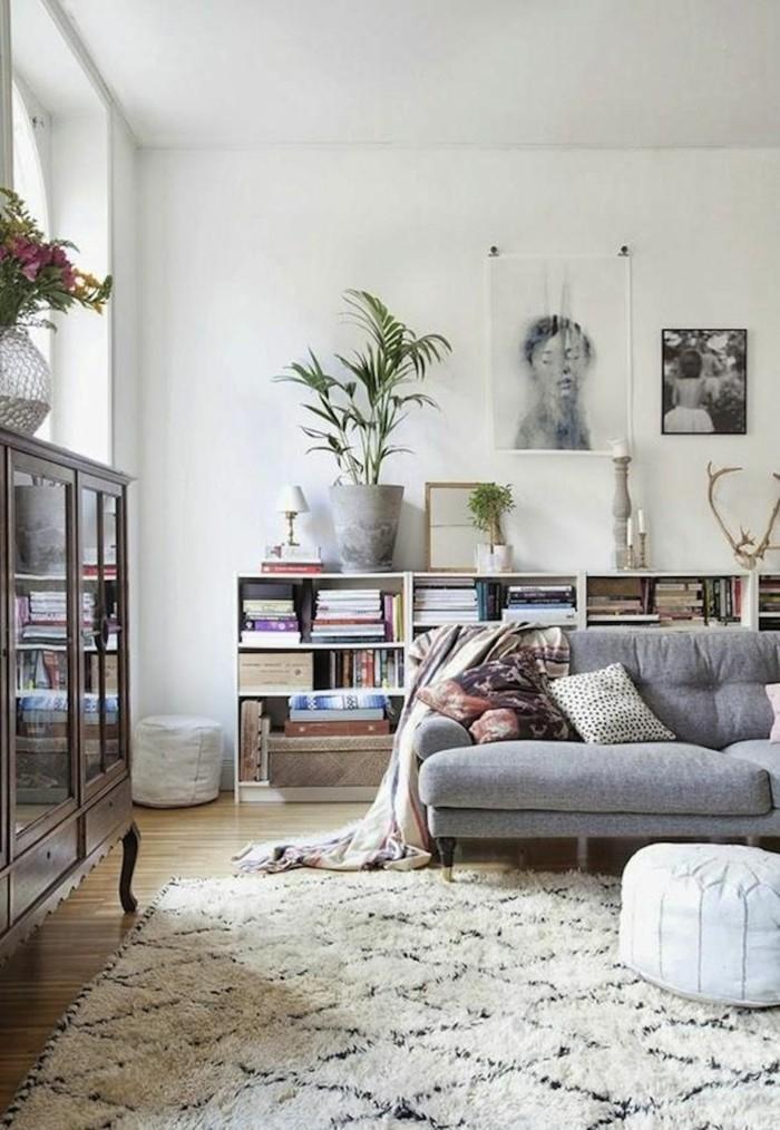 marokkanische teppiche skandinavisches flair hellgraues sofa