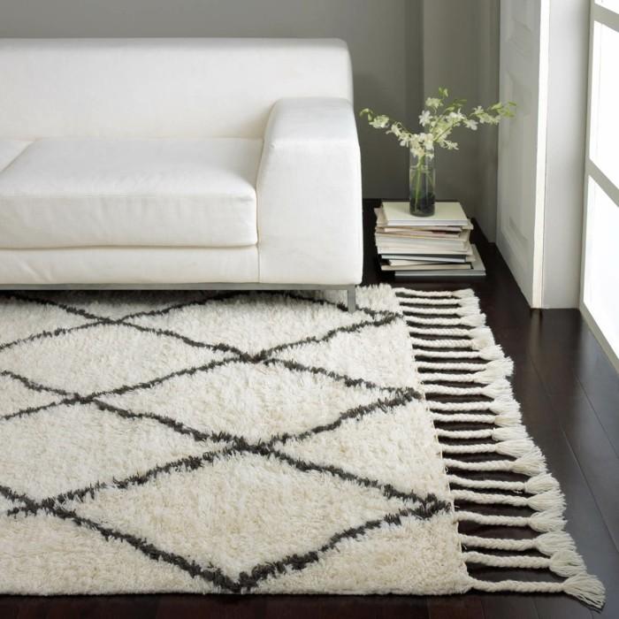 marokkanische teppiche stilvolles wohnzimmer dunkler bodenbelag