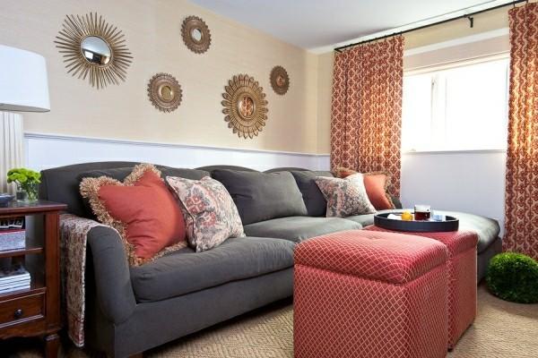 mehrere wandspiegel inneneinrichtung ideen wohnzimmer