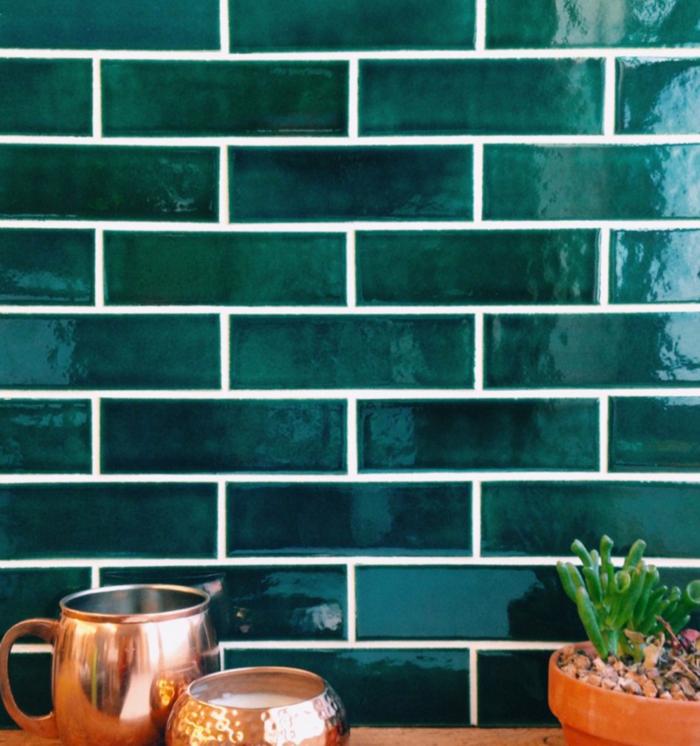 metrofliesen grüne wandfliesen küche einrichten ideen