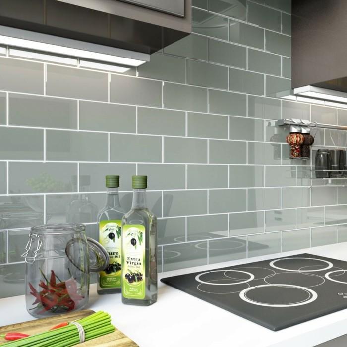 metrofliesen küche graue wandfliesen