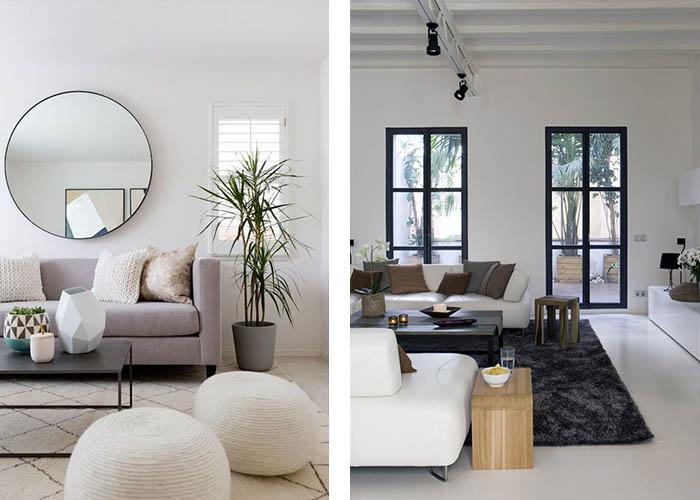Minimalistisch Einrichten Wohnzimmer Teppich Hocker