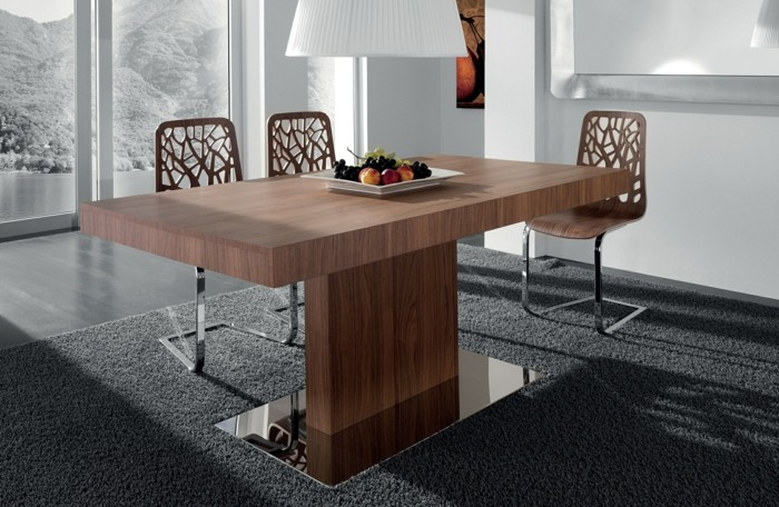 moderne stühle esszimmer ausgefallenes design gestell holzoptik